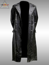 Men's Classic Officer Military Hide Leather Black GERMAN PEA Trench Coat