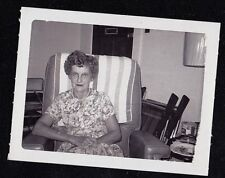 Antique Vintage Photograph Older Woman Sitting in Chair in Retro Room