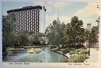 San Antonio Texas Riverwalk Downtown TX Vintage Postcard Dexter Press Riverboat