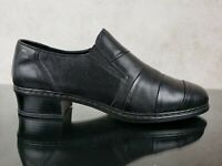 Rieker Antistress Black Leather Slip On Low Heel Loafers Comfort Women's 7.5