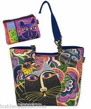 Laurel Burch Carlottas Black Cats in Garden Large Tote w Blue Purple Makeup Bag
