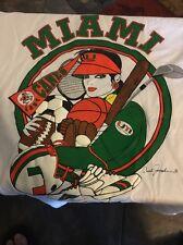 VTG 80s Art Deco Carol Joseph Miami Hurricanes bedazzled fancy lady Canes shirt
