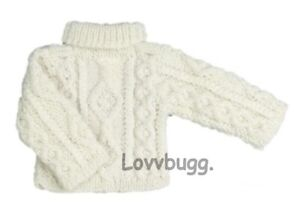"""White Ivory Cable Sweater for American Girl 18"""" Doll Clothes LOVV LOVVBUGG! 🐞"""