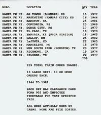 13 BIG SETS OF SANTA FE TRAIN ORDERS (259) 1944-1982 WITH ETT'S 13 LOCATIONS CD!