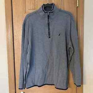Nautica 1/3 Zip Sailboat Logo Mock Neck Gray Sweatshirt Men's