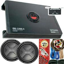 """Kenwood KFC-W3041 4000W 12"""" Subwoofer + Amplifier 3000W 2-Ch + 4 Gauge Amp Kit"""