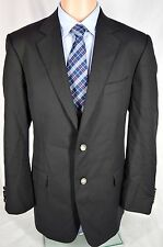 Brooks Brothers Men's Black Wool 2 Metal Button Blazer Size 40R Coat Jacket