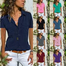 Damen T-Shirt Kurzarm Blusenhemd Hemd Bluse Sommer Freizeit Oberteile Unifarben