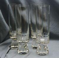 4 Sektgläser Sektflöten Bleikristall,Stangenform,massiver Fuß,facettiert,16,5 cm