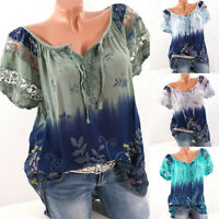 Plus Size Womens Loose Short Sleeve Lace Floral Summer T Shirt Tops Blouse L-5XL