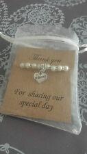 Wedding Heart Charm Thank You Gift Bracelet Bridesmaid Flower Girl  jewellery