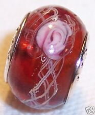 Small Brown Pink Flower Rose Glass Bead for Silver European Style Charm Bracelet
