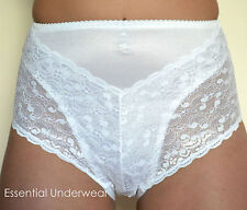 3X  205 MEDIUM CONTROL SUPPORT LACE KNICKERS BRIEFS, BLACK & WHITE, SMALL -  XXL