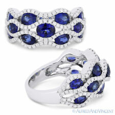 Pave 18k White Gold Right-Hand Fashion Ring 3.53 ct Oval Cut Sapphire & Diamond