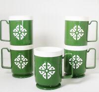 Set 5 Vtg 1970 Green Chalet Chicago Plastic GEOMETRIC Mugs Stackable USA Retro