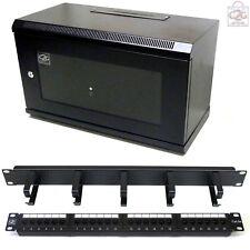 6U Black 450mm Data Cabinet + C5e Patch Panel, Ring Tidy Bar Network Comms Rack