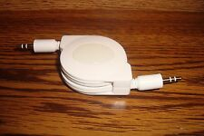 Mini Stereo 4 ft Retractable Auxiliary Cable 3.5mm male to male plug WHITE * NEW