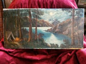 Antique Oil Painting Signed W Amos 1935 Canada West Coast