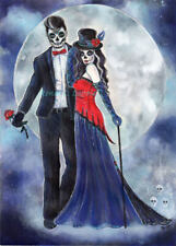 Day of the dead death do us part watercolor original 10x14in BY RENEE L LAVOIE