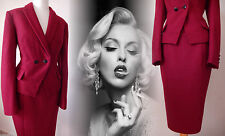 Skirt Suit Wool Jacket Red Vintage 40s 50s Pencil Wiggle Hourglass 10 38 US 6