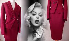 Tailleur Veste en Laine rouge Vintage 40 S 💗 50 s Crayon Wiggle Hourglass 10 38 US 6