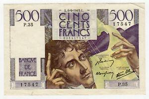 Billet de 500 Francs - CHATEAUBRIAND - Banque de FRANCE - 1945 17547  - SUP