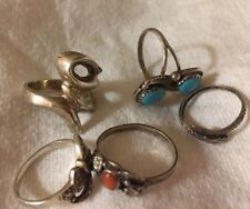 Sterling Silver Ring Red Coral Hand Marcasite,Turquoise, Snake Collectors 5 Pc*