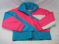Vintage Ossi Skiwear Women's ski Jacket Color Block Pink Turquoise Size L +Bonus
