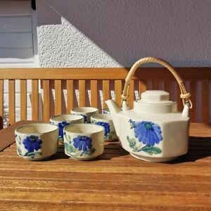 TEESERVICE Blumenmuster blau China Asien handbemalt 7 teilig Keramik