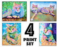 Cat Art Prints - Set of 4 - 8x10 inches - A Fun Cat Lover Gift!