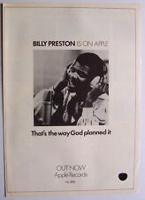 BILLY PRESTON 1969 Poster Ad THAT'S THE WAY GOD PLANNED IT apple records