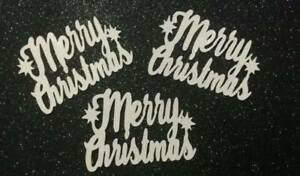 Merry Christmas Cup Cake Toppers Silver Any Colour Glitter Pack of 6 FREE UK P&P