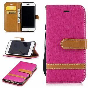 Tasche für Apple iPhone 7 Jeans Cover Handy Schutz Hülle Case Wallet Pink Neu