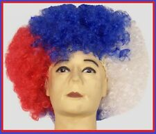 Aussie JUMBO AFRO WIG Red White Blue AUSTRALIA Commonwealth Olympic Costume NEW