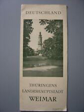 Ancien dépliant touristique Guide de WEIMAR Carte de la Ville Thuringe Thüringen