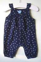Girls ex John Lewis Dungarees baby cord applique bird 0-3 years blue