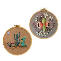 2 Set DIY Cross Stitch Kit Hand Embroidery Starter Sewing Needle Thread Hoop Kit