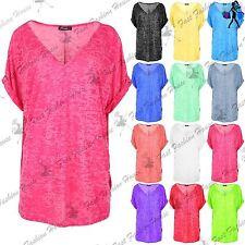 Womens Baggy T Shirt Ladies Lagenlook Top Burnout V Neck Turn Up Sleeve Oversize