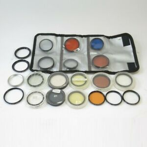 Joblot of 21 Lens Filters & Adapter Rings: Special FX / Colour, 49/52mm, Vintage