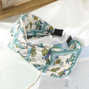 Women Wide Tie Headband Hairband Printed Cross Fabric Band Hair Hoop Accessories
