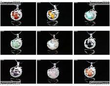 Natural Gemstone Dragon Round Ball Reiki Chakra Healing Pendant Necklace Beads
