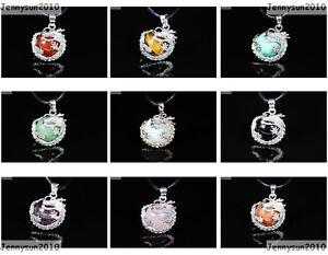 Natural Gemstone Dragon Round Ball Reiki Chakra Pendant Charms Silver Plated