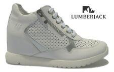 Zapatos de Mujer Cuña Interior LUMBERJACK Único Alto Verano Piel Perforado White