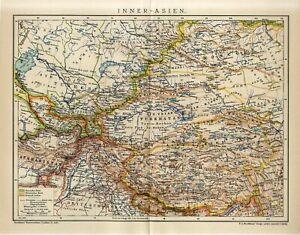 1912 RUSSIA UZBEKISTAN TURKMENISTAN TIBET NEPAL MONGOLIA AFGHANISTAN Map dated
