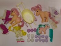 My Little Pony Vintage G1 Flawed Lot of 4 with Clothes Buggy Parts READ