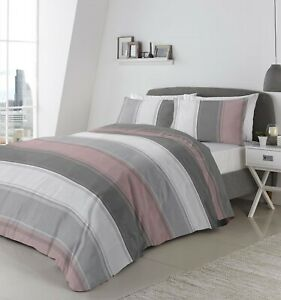 Betley Stripe Pink And Grey Duvet Cover Sets- Bedding Sets,Reversible,Free P&P