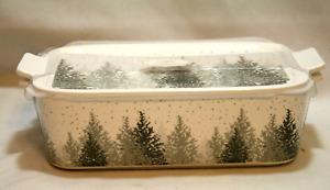 Grace Pantry Porcelain Christmas Casserole White / Gray Trees Woods Snow Winter