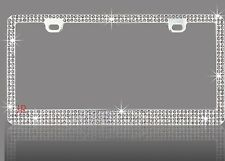 4 ROW Bling GREY REAL Crystal Embedded Chrome License Plate Frame-A
