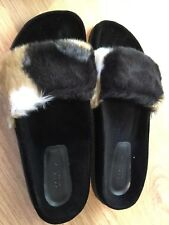 ZARA Beige Black Faux Fur Slides Slippers Sandals Mules UK 7 Euro 41