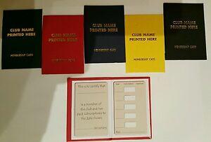 250 HARD BACKED MEMBERSHIP CARDS BOOKS, CLUB NAME Gold Blocking Various Colours